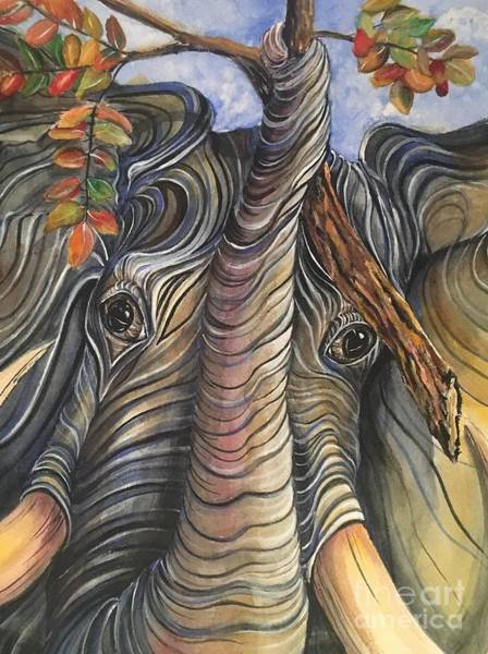 Pen And Ink Mixed Media - Elephant Holding A Tree Branch by Mastiff Studios