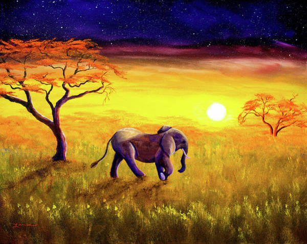 Wall Art - Painting - Elephant In Purple Twilight by Laura Iverson