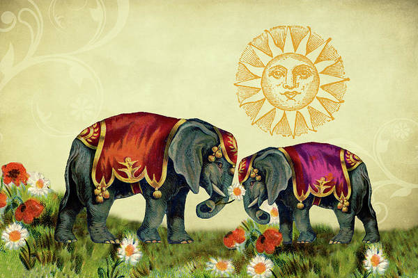 Mixed Media - Elephant Love by Peggy Collins