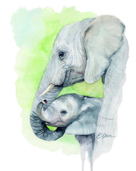 Snuggle Painting - Elephant Mom And Baby by Emily Olson