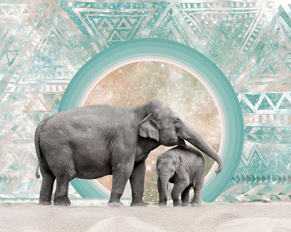 Spirit Digital Art - Elephant Mother And Child by Lori Menna