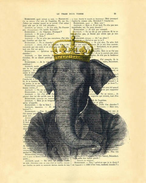 England Digital Art - Elephant With Crown Nursery Decor by Madame Memento