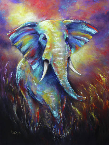 Wall Art - Pastel - Elephant by Patricia Lintner
