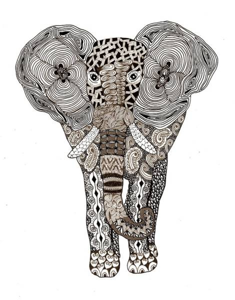 African Animal Drawing - Elephant by Sharon White