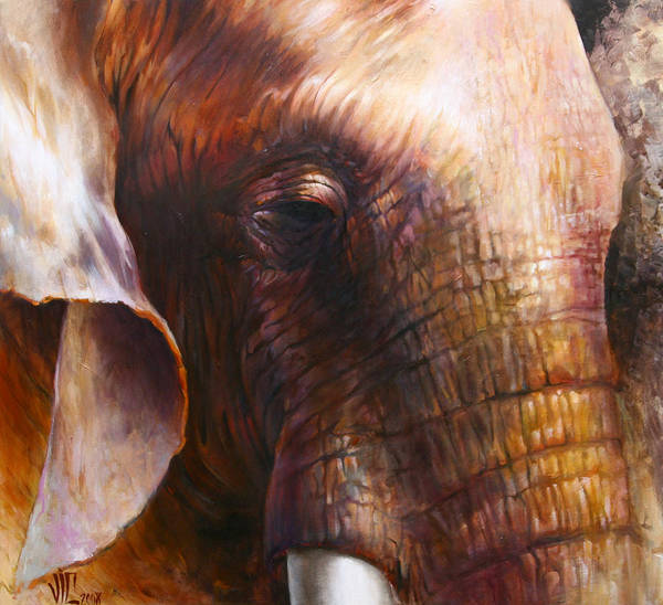 Acrilic Painting - Elephant Empathy by Vali Irina Ciobanu