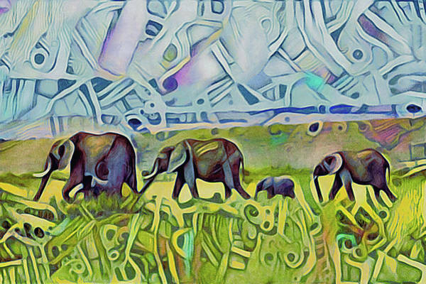 Mixed Media - Elephant Walk by Susan Maxwell Schmidt