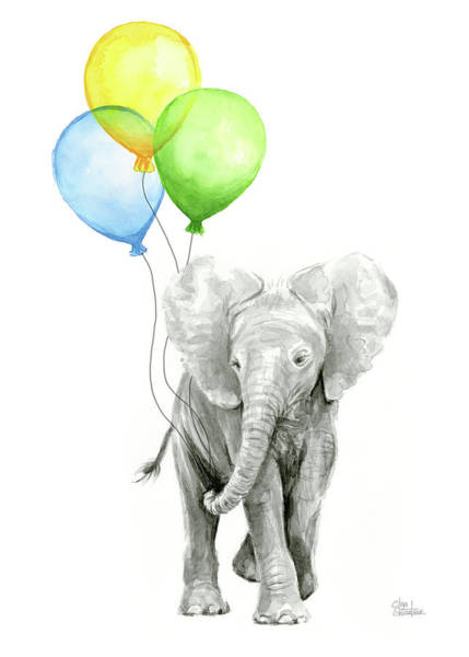 Baby Painting - Elephant Watercolor Baby Animal Nursery Art by Olga Shvartsur