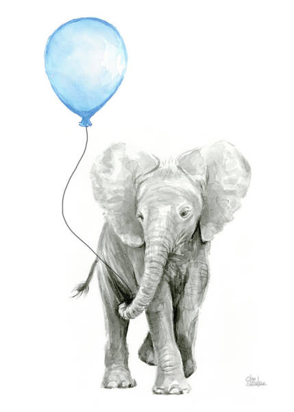 Baby Painting - Elephant Watercolor Blue Nursery Art by Olga Shvartsur