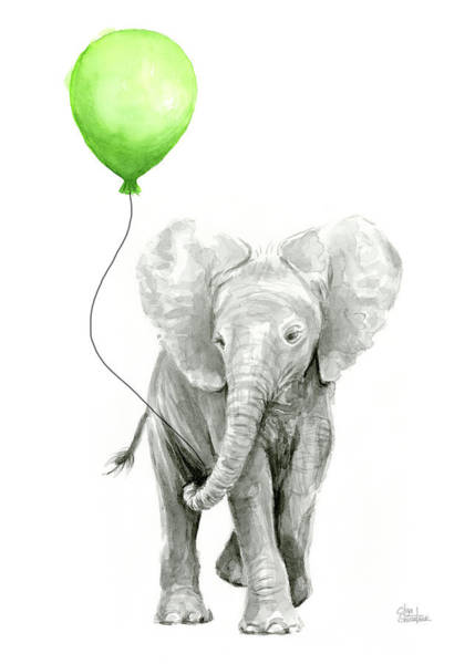 Elephant Painting - Elephant Watercolor Green Balloon Kids Room Art  by Olga Shvartsur