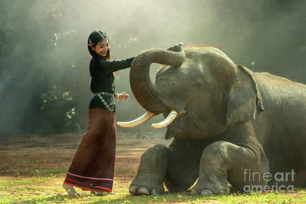 Wildlife Er Photograph - Elephant With Asian Girl by Sasin Tipchai