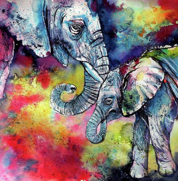 Wall Art - Painting - Elephant With Baby II by Kovacs Anna Brigitta