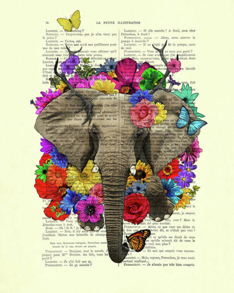 Cheerful Digital Art - Elephant With Colorful Flowers Illustration by Madame Memento