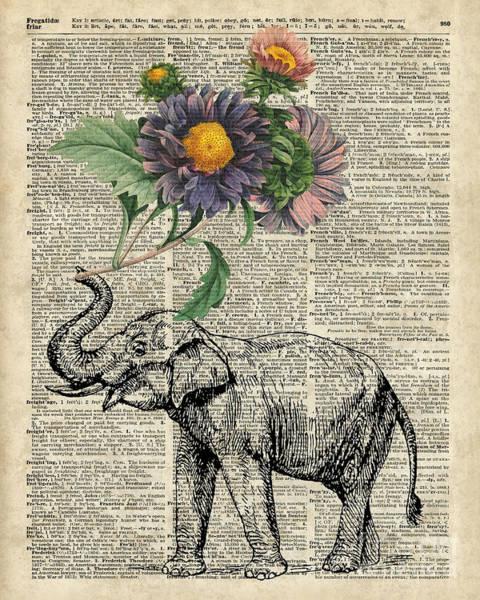 Nursery Room Digital Art - Elephant With Flowers by Anna W