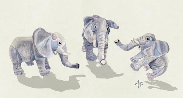 Mixed Media - Elephants by Angeles M Pomata