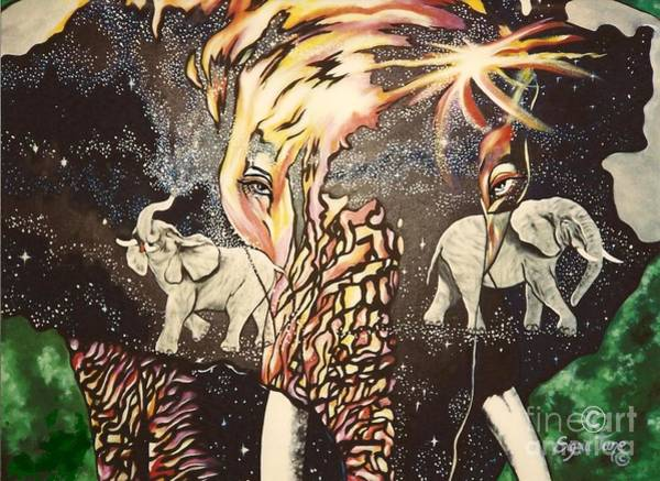 Painting - Blaa Kattproduksjoner       Elephants Are Dreamers Too by Sigrid Tune