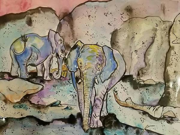 Wall Art - Painting - Elephants  by Arrin Burgand