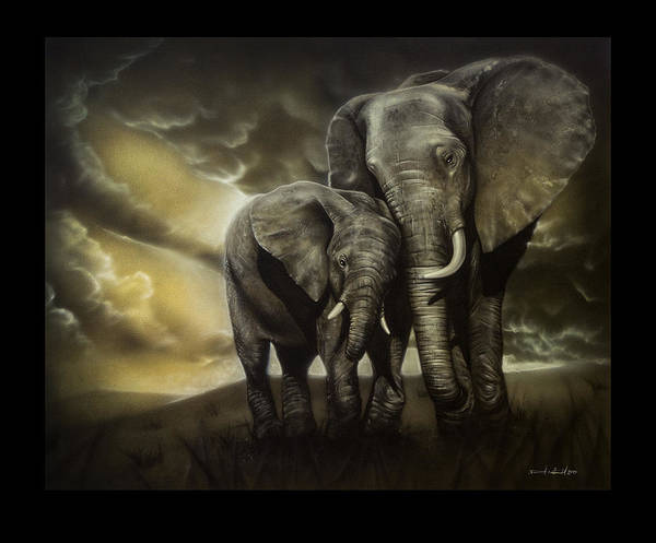Animal Painting - Elephants by Daniel Natterdal