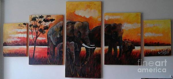 Wall Art - Painting - Elephants Famil  And Lake by Sudumenike Wijesooriya