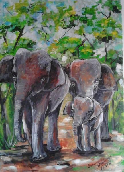 Wall Art - Painting - Elephants Famil by Sudumenike Wijesooriya
