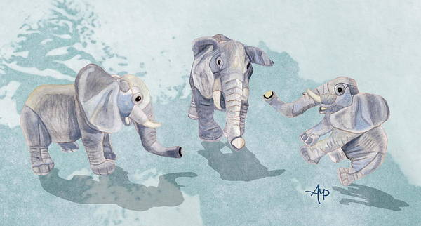 Mixed Media - Elephants In Blue by Angeles M Pomata