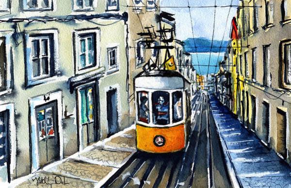 Wall Art - Painting - Elevador Da Bica In Lisbon by Dora Hathazi Mendes