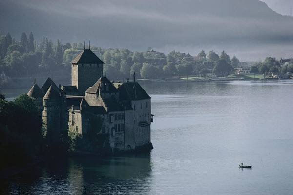 Wall Art - Photograph - Elevated View Of Chateau De Chillon by Thomas J. Abercrombie