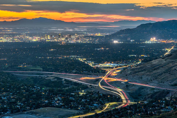 Photograph - Elevated View Of Salt Lake City After Sunset by James Udall
