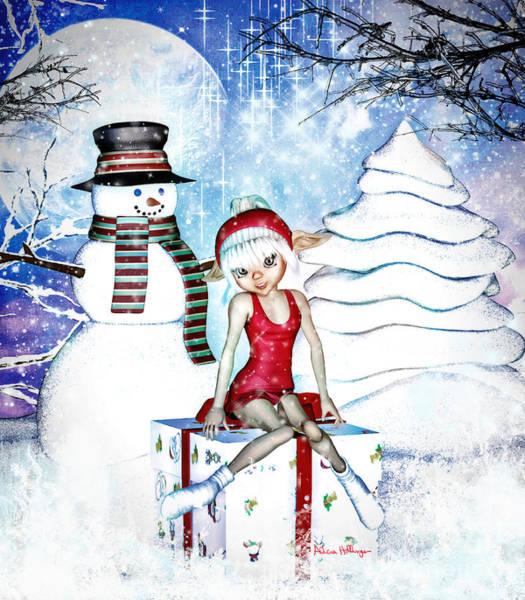 Digital Art - Elfin Winter Holidays by Alicia Hollinger