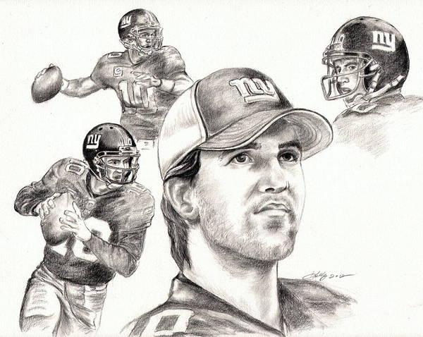 Nfl Drawing - Eli Manning by Kathleen Kelly Thompson