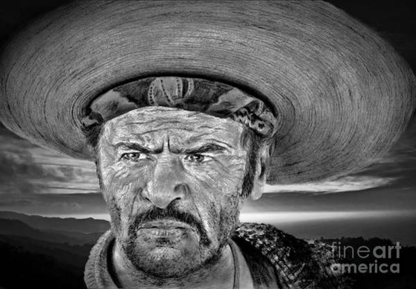 Blondie Digital Art - Eli Wallach As Tuco In The Good The Bad And The Ugly At Sunset Black And White Version by Jim Fitzpatrick