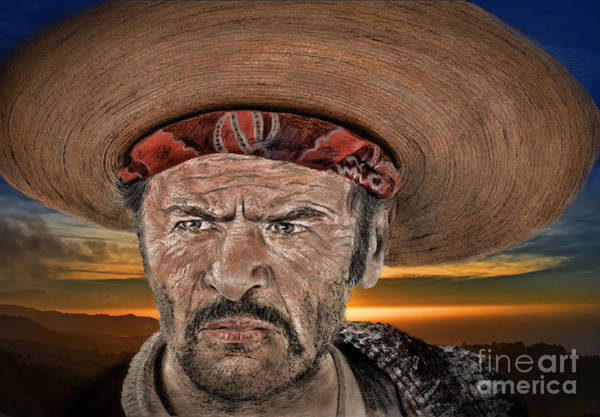 Blondie Digital Art - Eli Wallach As Tuco In The Good The Bad And The Ugly At Sunset by Jim Fitzpatrick