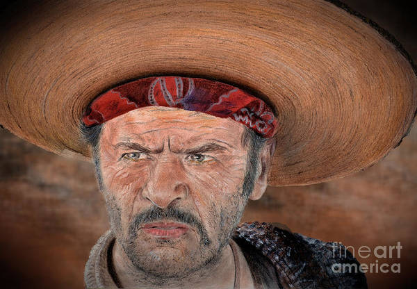 Clint Eastwood Drawing - Eli Wallach As Tuco In The Good The Bad And The Ugly Version II by Jim Fitzpatrick
