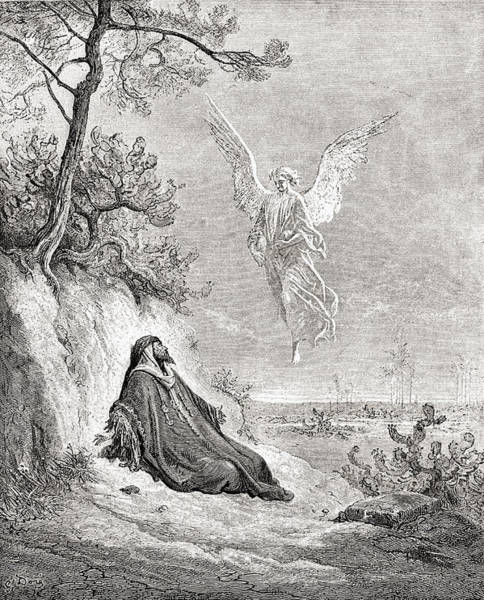 Dor Drawing - Elijah Nourished By An Angel. After A by Vintage Design Pics