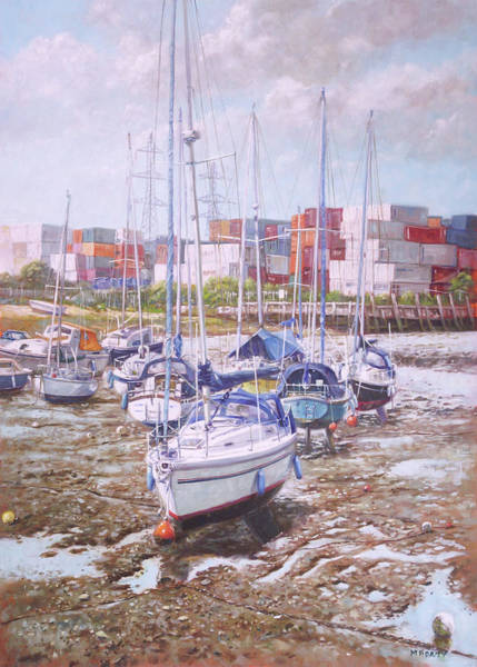 Painting - Eling Yacht Southampton Containers by Martin Davey