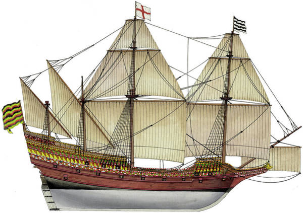 Wall Art - Painting - Elisabethan Galleon by The Collectioner