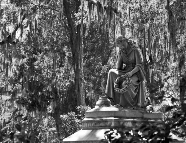 Photograph - Eliza Wilhelmina Statute In Bonaventure Cemetery Black And White by Ginger Wakem