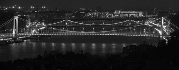 Photograph - Elizabeth And Liberty Bridges Budapest Bw by Joan Carroll