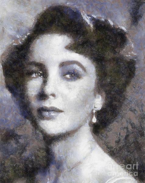Elizabeth Taylor Painting - Elizabeth Taylor By Sarah Kirk by Sarah Kirk