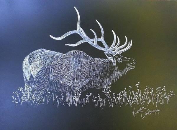 Bugling Drawing - Elk Bugle by Kendra DeBerry
