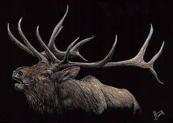 Elk Mountain Drawing - Elk Calling Thru The Woods by Janet Funk