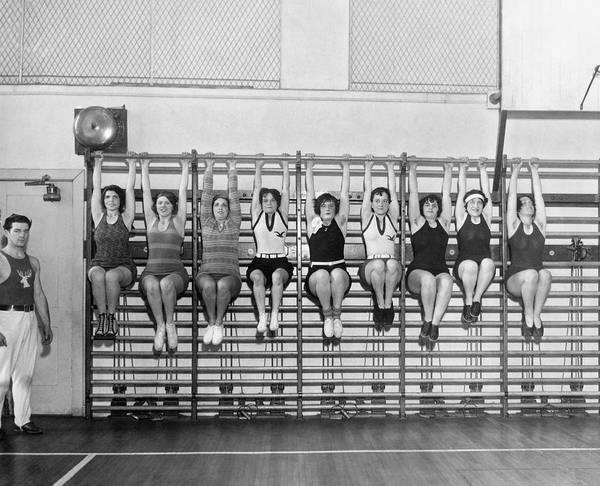 Workout Photograph - Elk Wives Workout by Underwood Archives