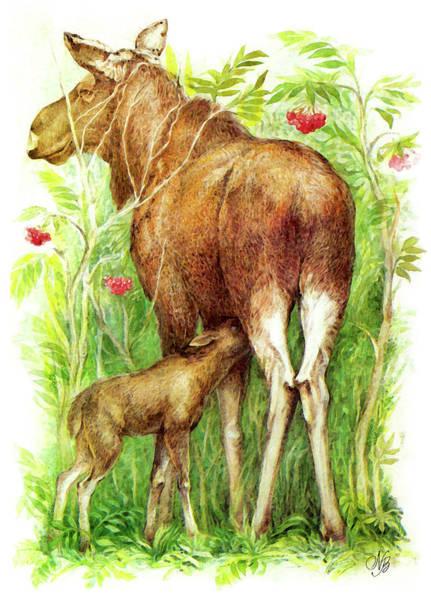 Guache Painting - Elks by Natalie Berman