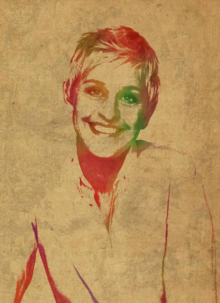 Watercolor Portrait Mixed Media - Ellen Degeneres Watercolor Portrait by Design Turnpike