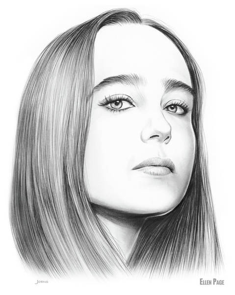 Actress Drawing - Ellen Page by Greg Joens