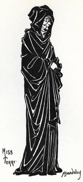 Beardsley Drawing - Ellen Terry As Rosamund De Clifford by Aubrey Beardsley