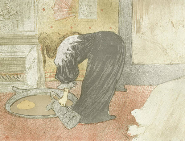 French Artist Drawing - Elles Woman At The Tub  by Henri de Toulouse-Lautrec