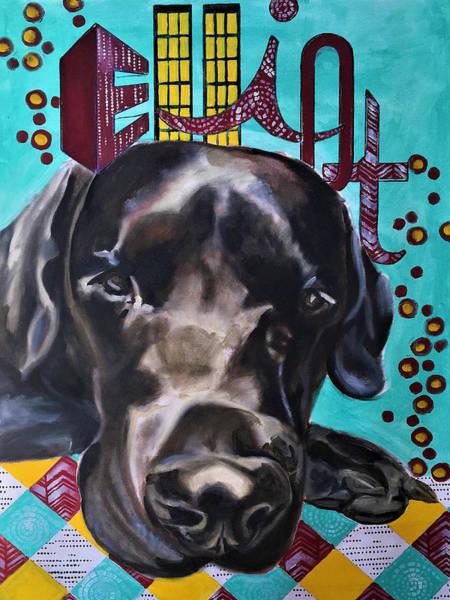 Black Lab Mixed Media - Elliot by Amoroqie Art