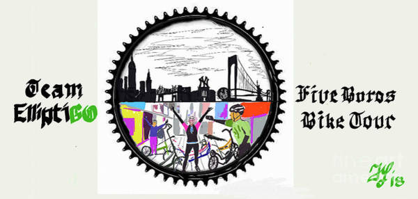 Painting - elliptiGO meets the 5 boros bike tour by Francois Lamothe