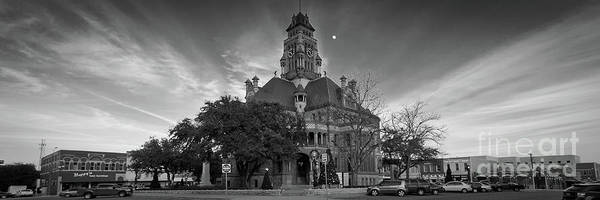 Wall Art - Photograph - Ellis County Courthouse And Square Monochrome Panorama by Ken Hurst