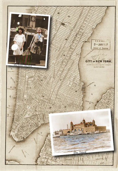 Ellis Island Vintage Map Child Immigrants Art Print